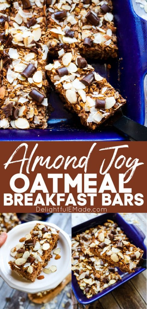 Almond joy oatmeal breakfast bars, chocolate coconut baked oatmeal on plate and in pan.