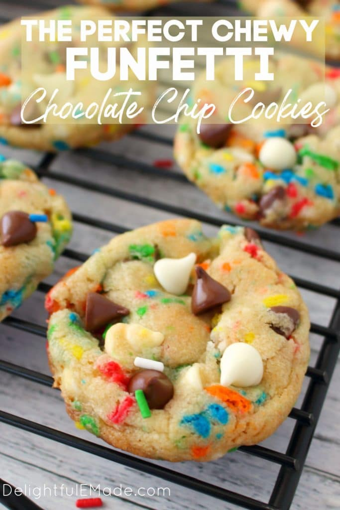 Cake Mix chocolate chip cookies on a cooling rack with sprinkles.