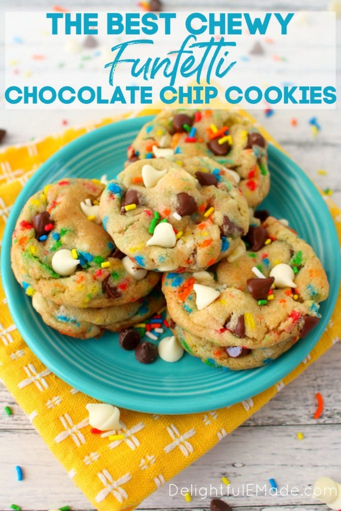 Funfetti chocolate chip cookies with sprinkles on a plate with extra chocolate chips.
