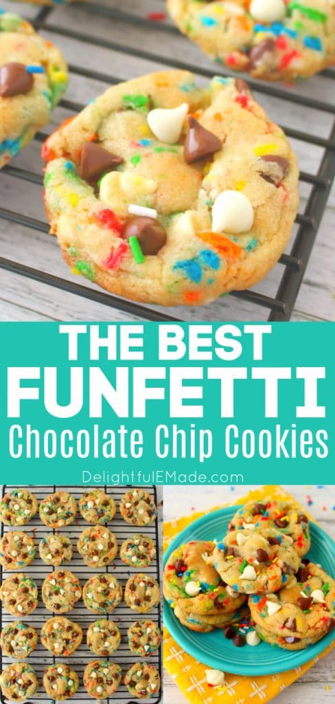 Funfetti Chocolate Chip Cookies with sprinkles, cake mix chocolate chip cookies on cooling rack and on a plate.