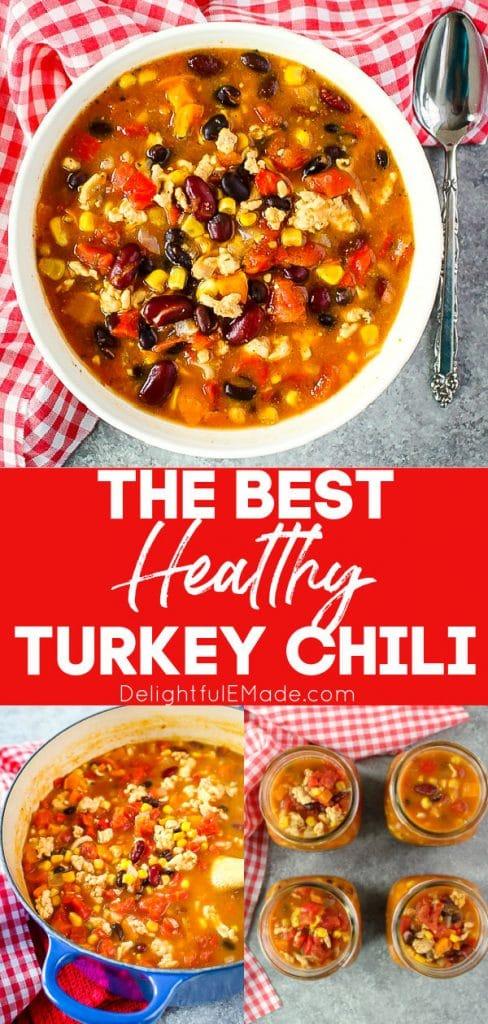 Healthy turkey chili in bowl, turkey chili recipe in pot.