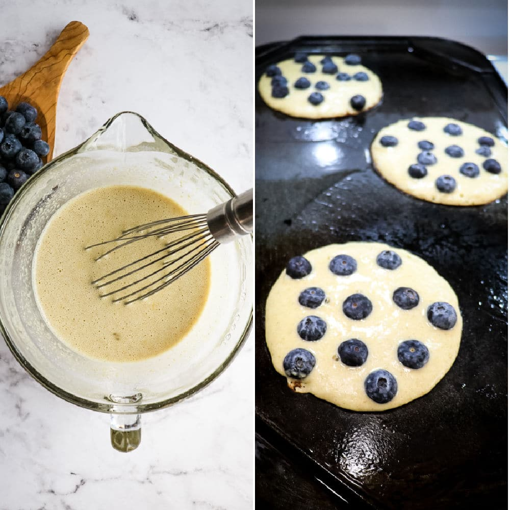 Healthy blueberry pancakes on griddle, blueberry oatmeal pancakes batter in bowl.
