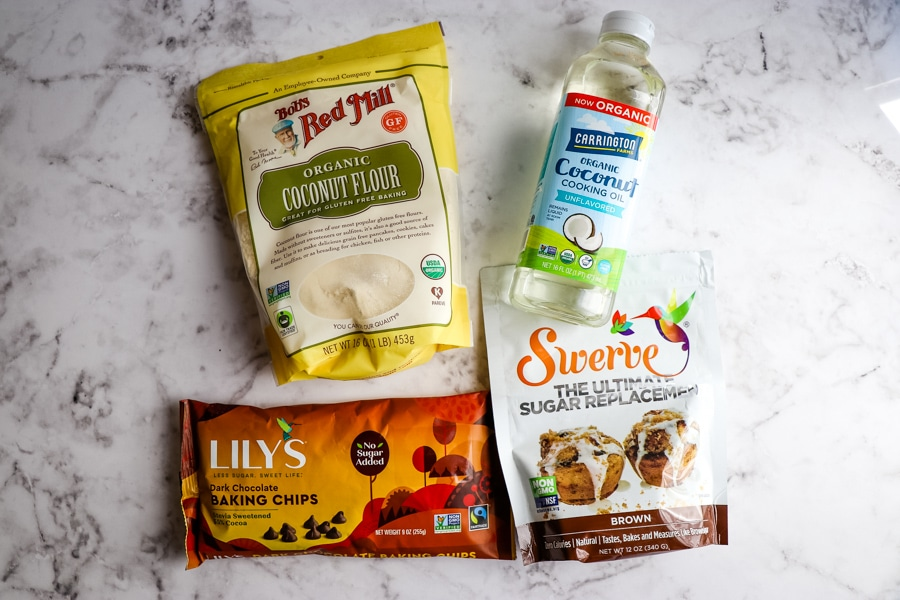 Ingredients for healthy chocolate banana bread, sugar free chocolate banana bread.