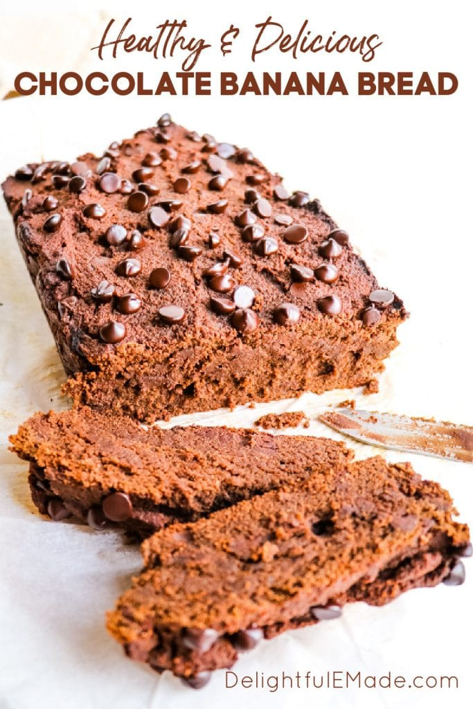 Slices of healthy chocolate banana bread with chocolate chips