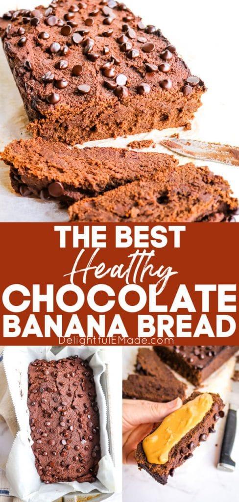 Slices of healthy chocolate banana bread, sugar free banana bread