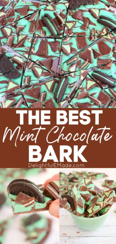 Mint chocolate bark recipe, broken into pieces and topped with oreos and andes mints.