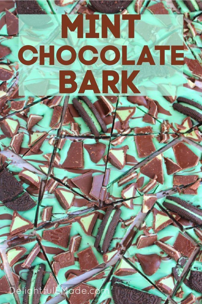 Mint chocolate bark recipe broken into pieces.