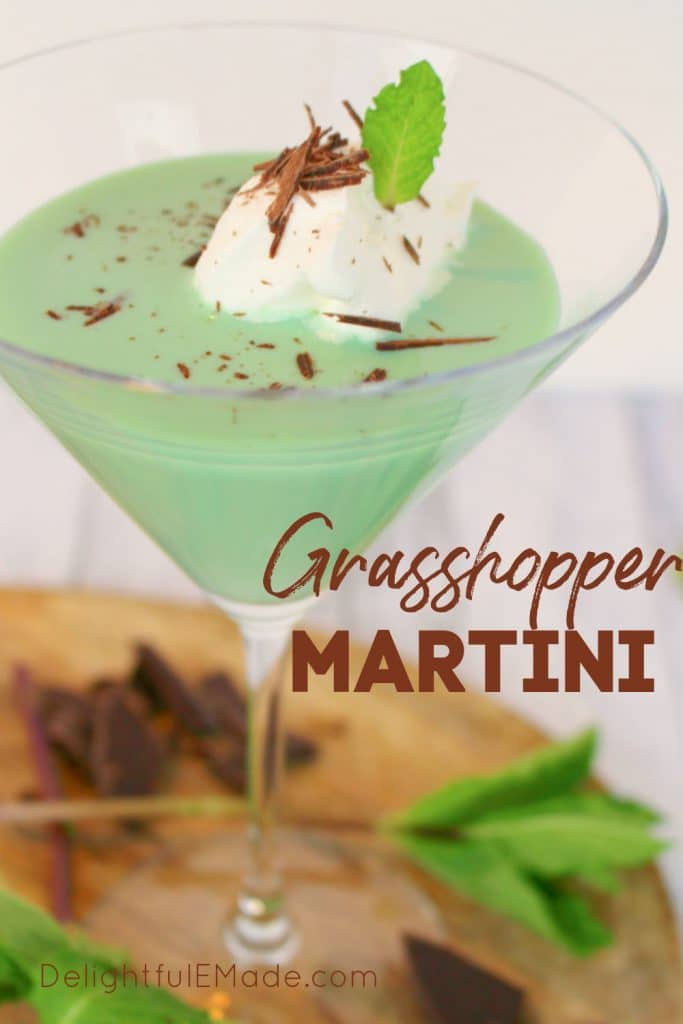 Mint chocolate martini, grasshopper martini topped with whipped cream and chocolate shavings.