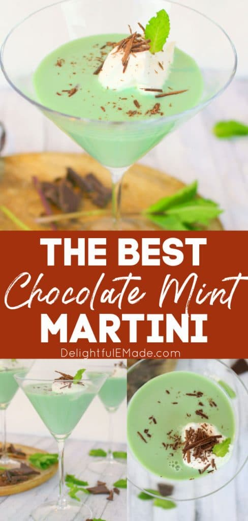 Mint chocolate martini in a martini glass topped with whipped cream and chocolate shavings. Grasshopper martini, mint martini.