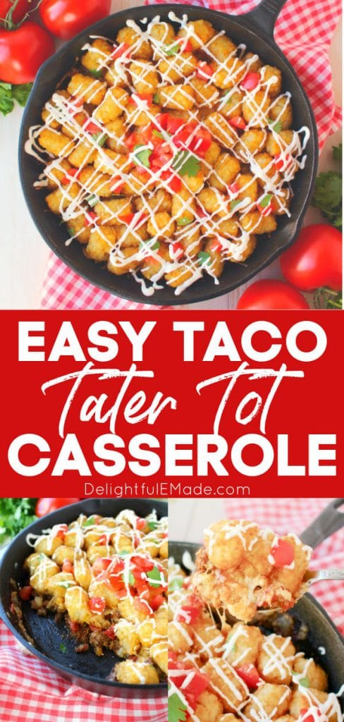 Cheesy taco tater tot casserole in a skillet.