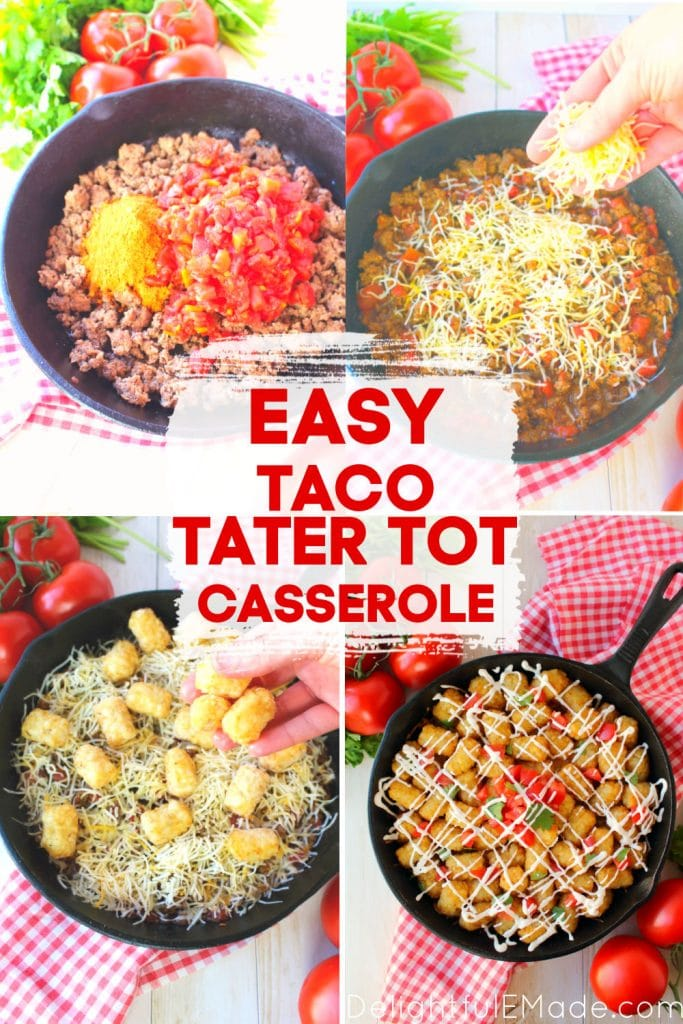 Step by step photos of how to make taco tater tot casserole.
