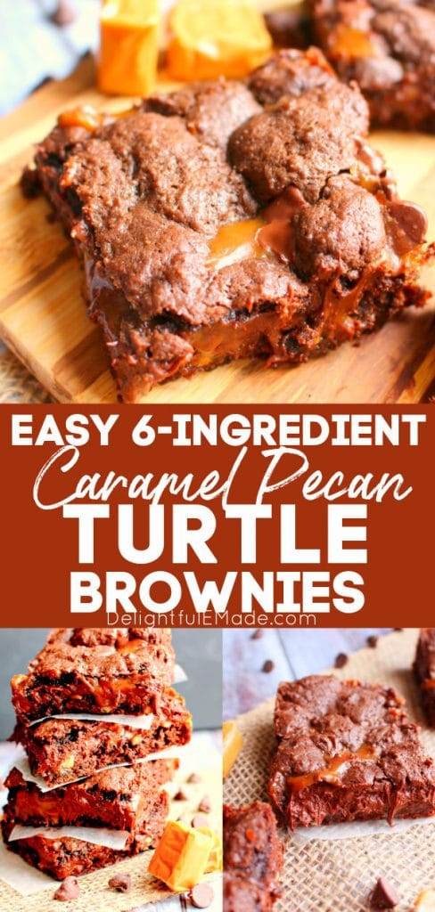 Cake mix turtle brownies on cutting board, caramel pecan brownies in stack.