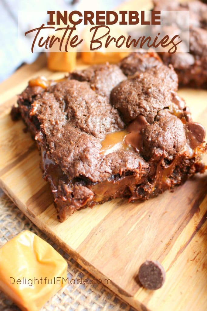 Tutle brownies on cutting board, caramel pecan brownies.