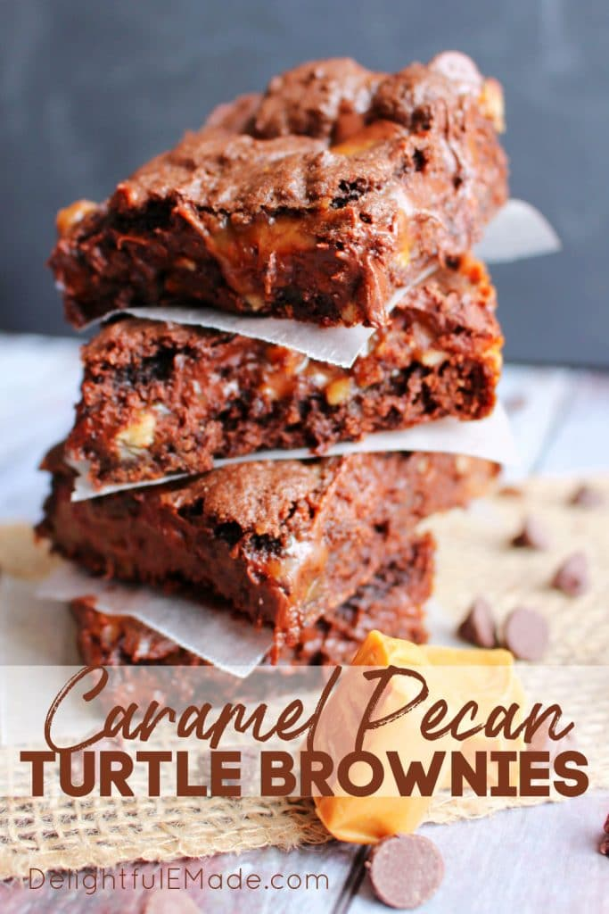 Cake mix turtle brownies in stack, caramel pecan brownies.