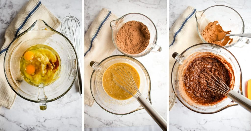 Steps to mixing batter for healthy chocolate banana bread.
