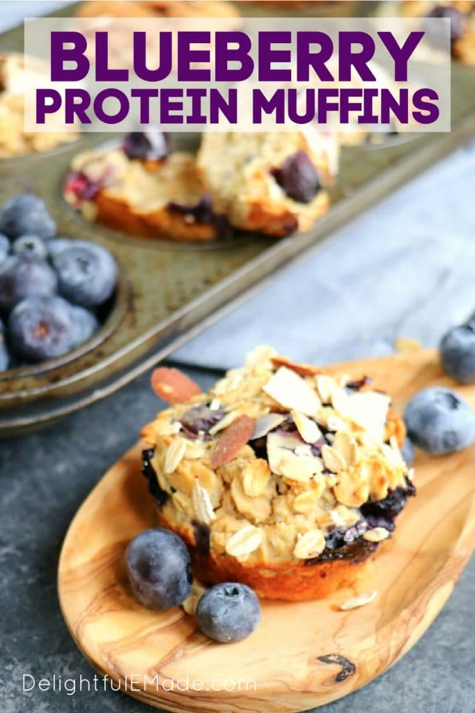 Blueberry protein muffin recipe, blueberry protein muffins with fresh blueberries.