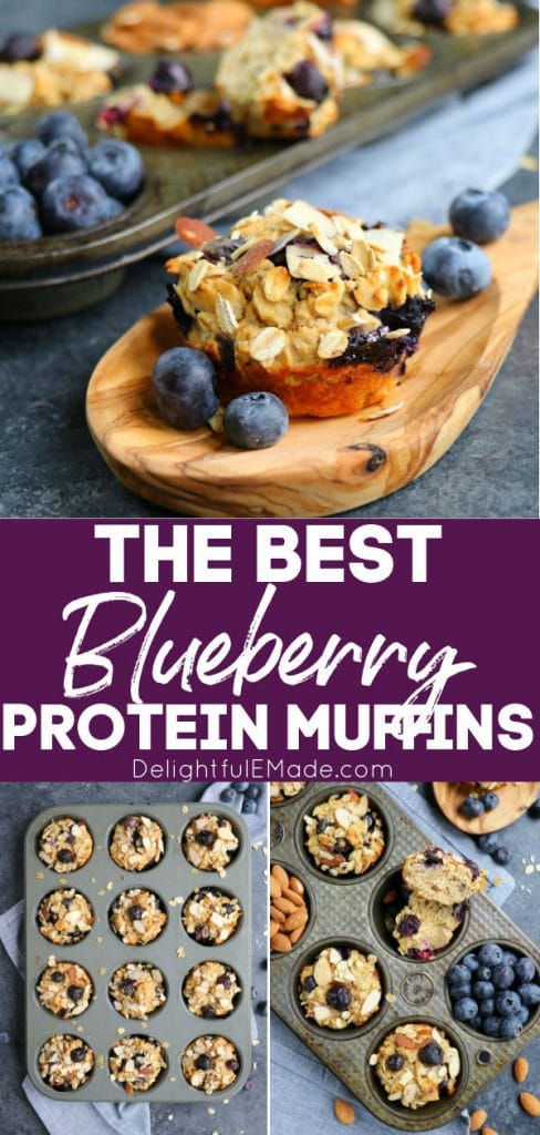 Blueberry protein muffins with almonds and fresh blueberries.