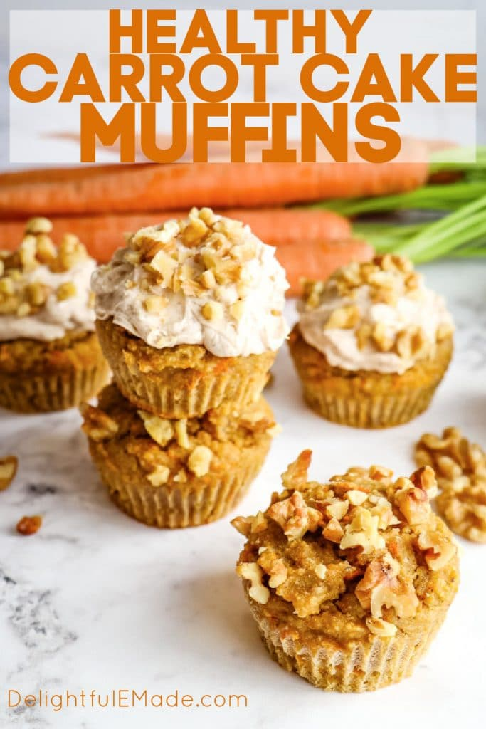 Healthy carrot cake muffins with cream cheese frosting and walnuts.