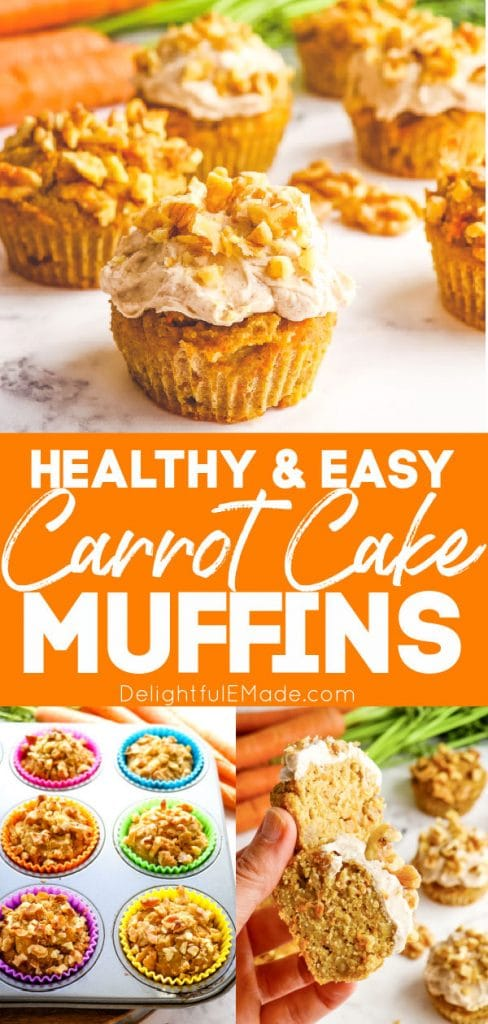 Healthy carrot cake muffins recipe topped with cream cheese frosting.