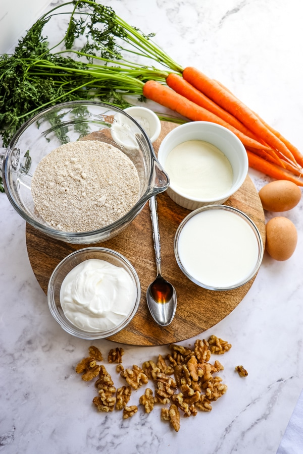 Ingredients for healthy carrot cake muffins recipe
