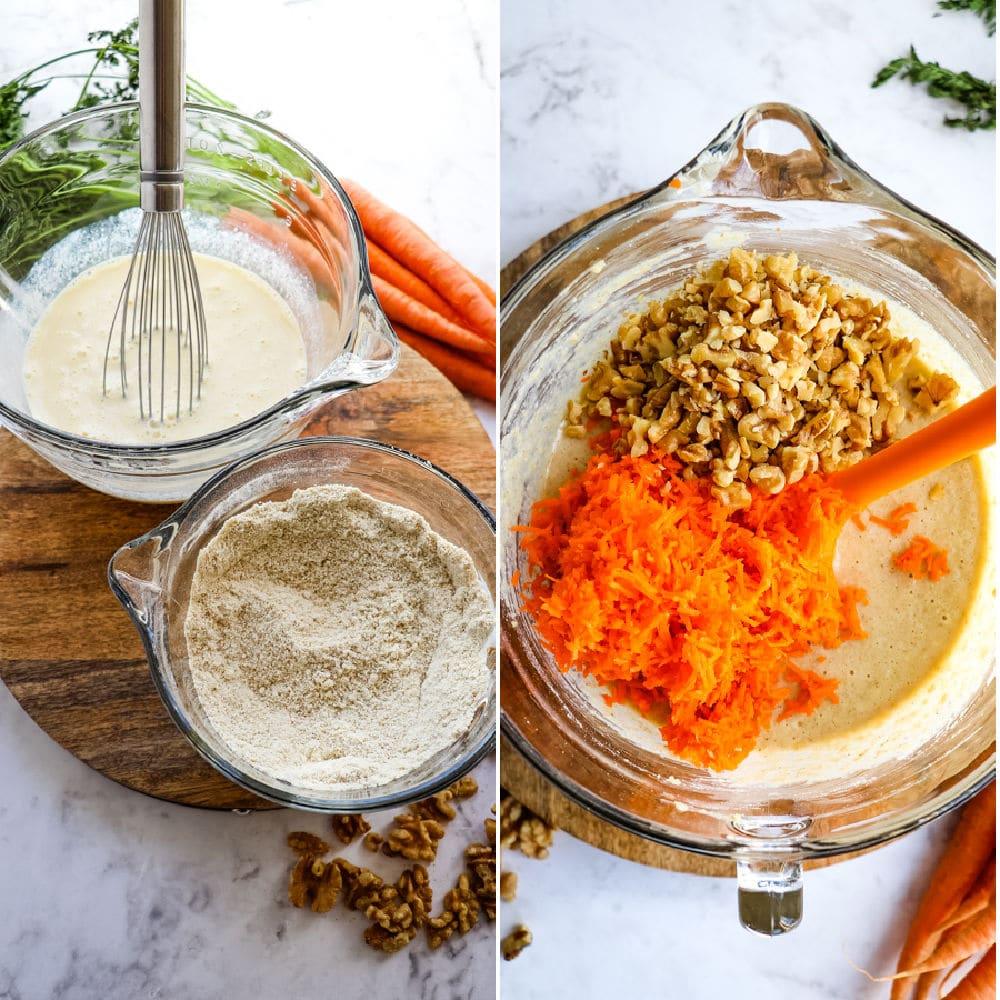 Wet, dry ingredients and batter for healthy carrot cake muffins recipe.