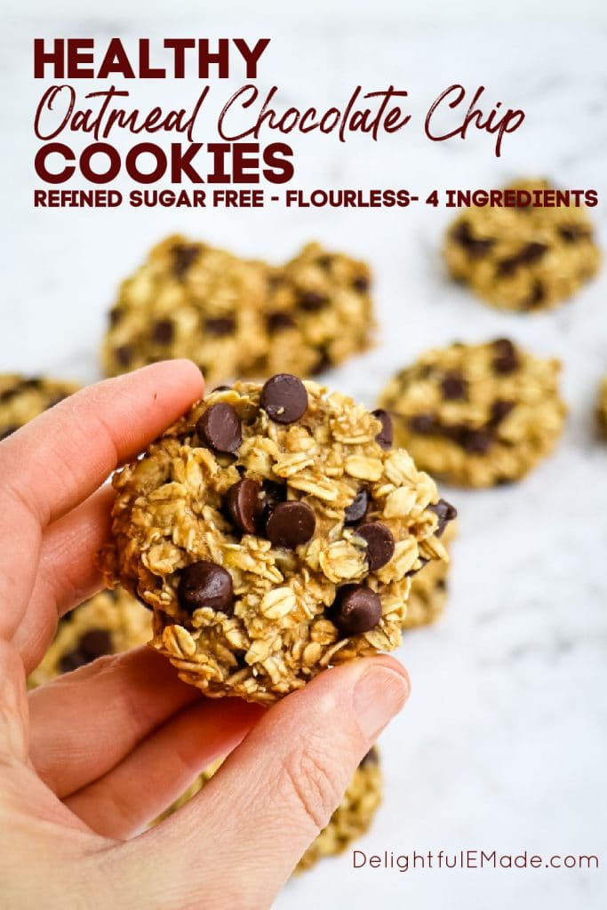 4 Ingredient Oatmeal cookies, healthy banana oatmeal chocolate chip cookies