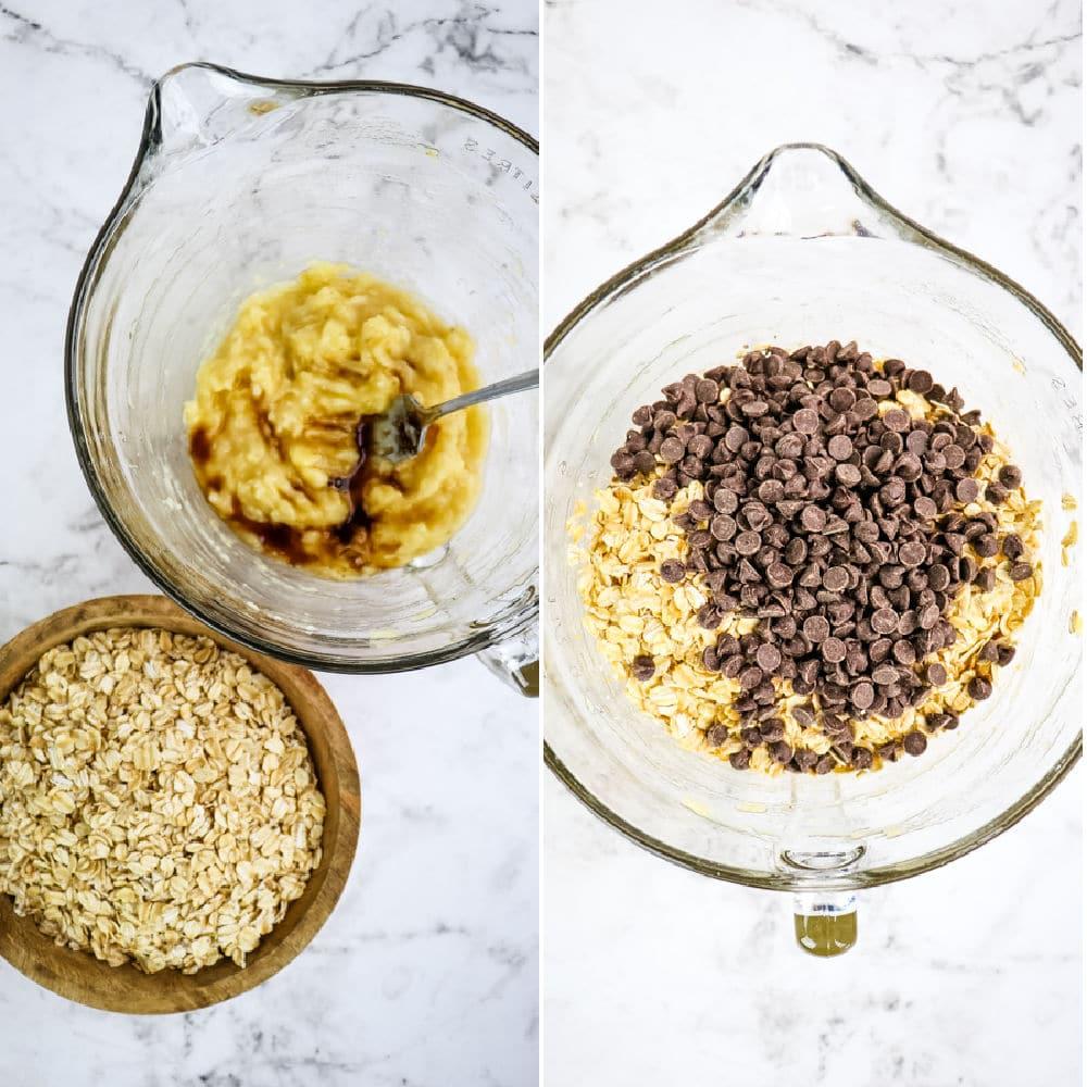 Healthy banana oatmeal chocolate chip cookies, 4 ingredient oatmeal cookies.