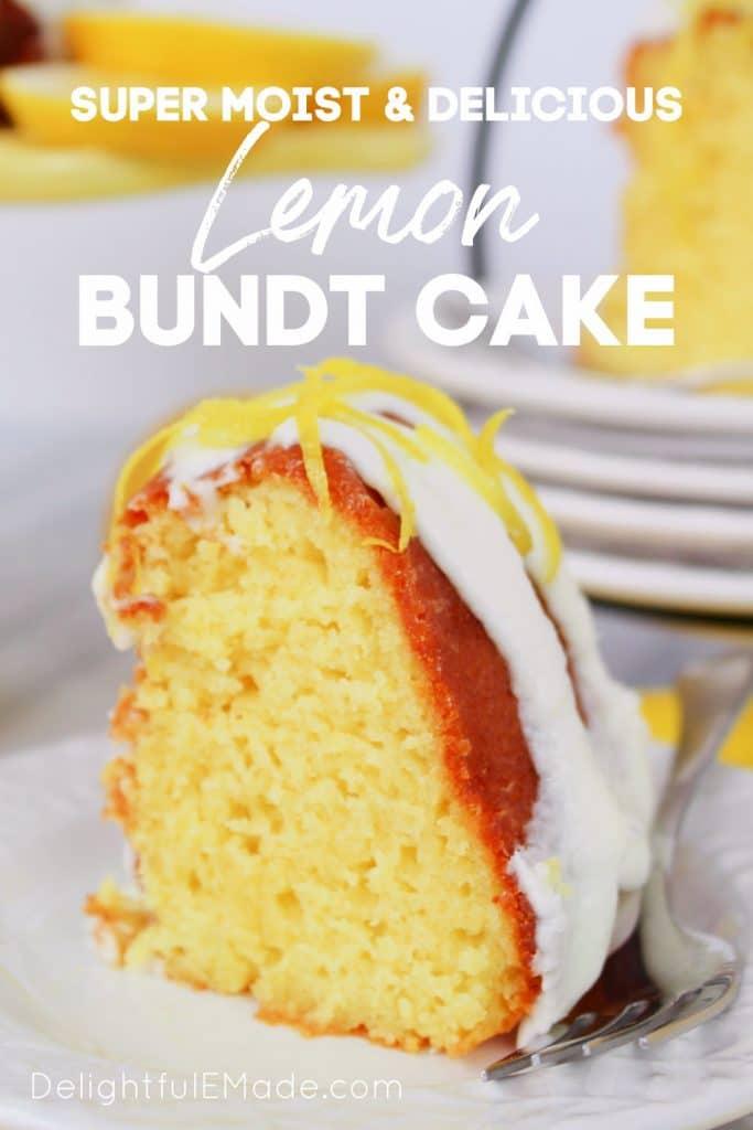 Lemon bundt cake recipe from scratch, sliced on a plate.