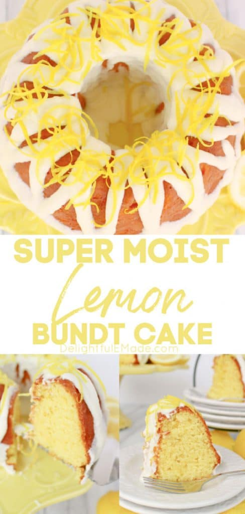 Lemon bundt cake recipe from scratch, on cake plate and slices on white plates.