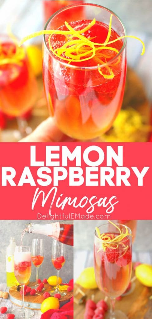 Lemon Raspberry Mimosa topped with fresh raspberries and lemon zest, rose champagne being poured into champagne flutes.