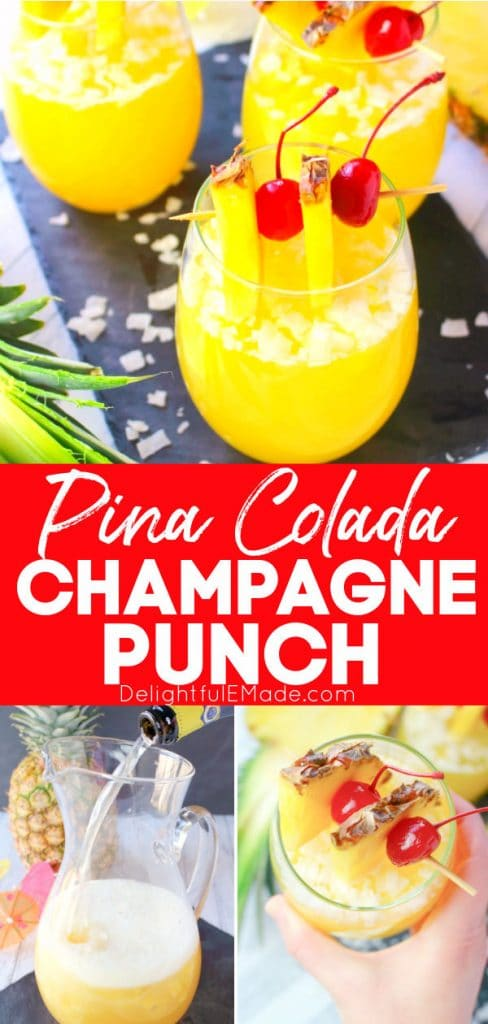 Pina colada champagne punch with pineapple and cherry garnish. Champagne punch recipe.