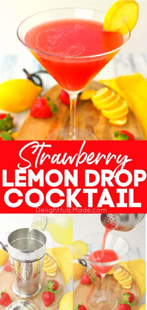 Strawberry lemon drop cocktail in martini glass topped with lemon slice.