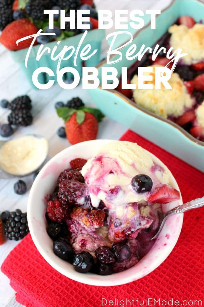 Triple berry cobbler recipe served with vanilla ice cream.