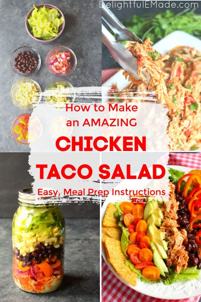 Chicken taco salad recipe, ingredients and packed in jar.