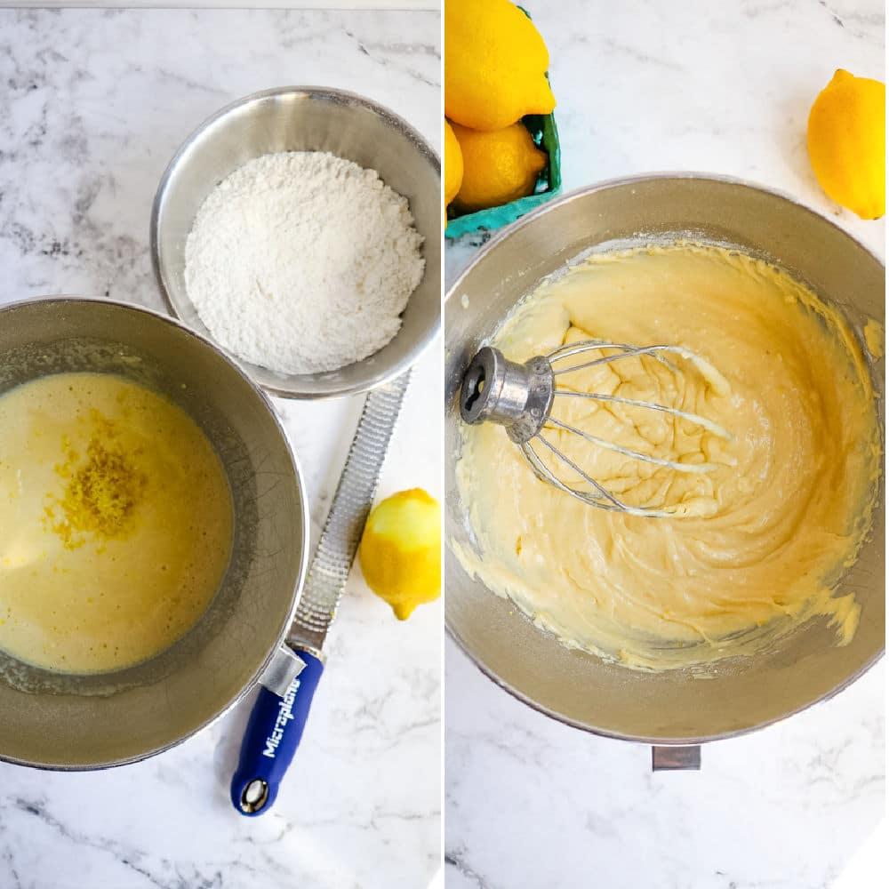 Copycat starbucks lemon loaf recipe, batter in bowls.