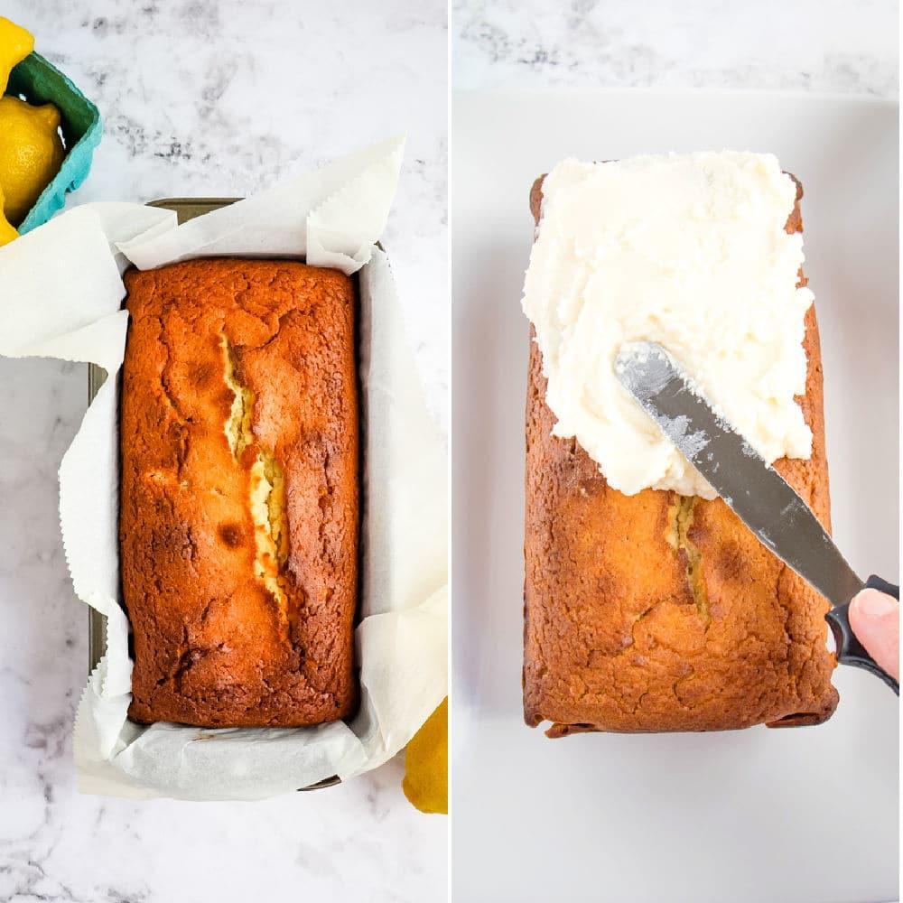 Copycat starbucks lemon loaf, baked loaf and loaf being frosted.