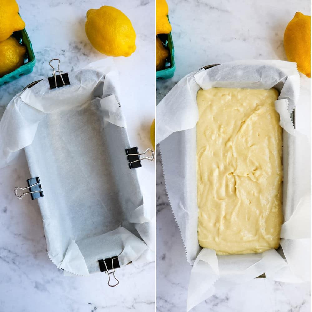 Copycat starbucks lemon loaf recipe, batter in lined pad.