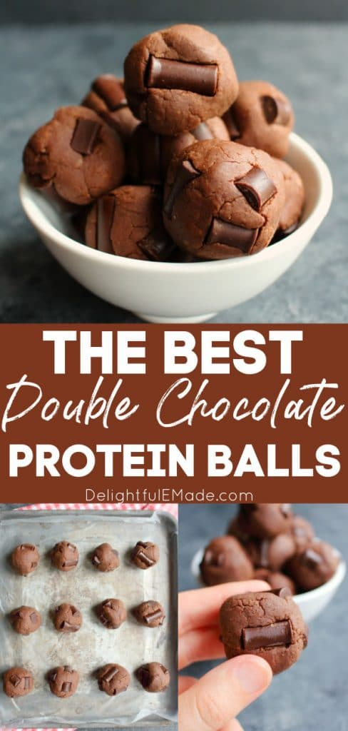 Double chocolate protein balls, in white dish and on pan.