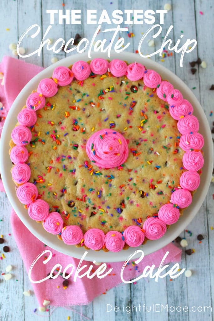 Giant chocolate chip cookie recipe, decorated with pink frosting and sprinkles.