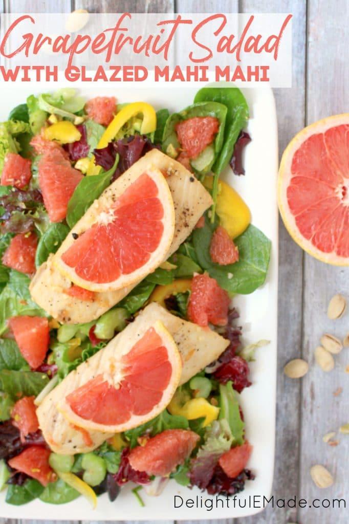 Grapefruit salad recipe with mahi mahi, on white platter.