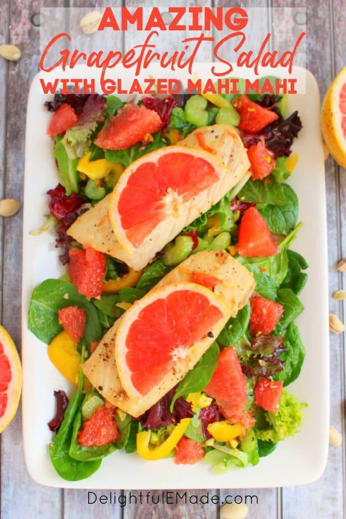 Grapefruit salad recipe with mahi mahi salad, topped with pistachios.