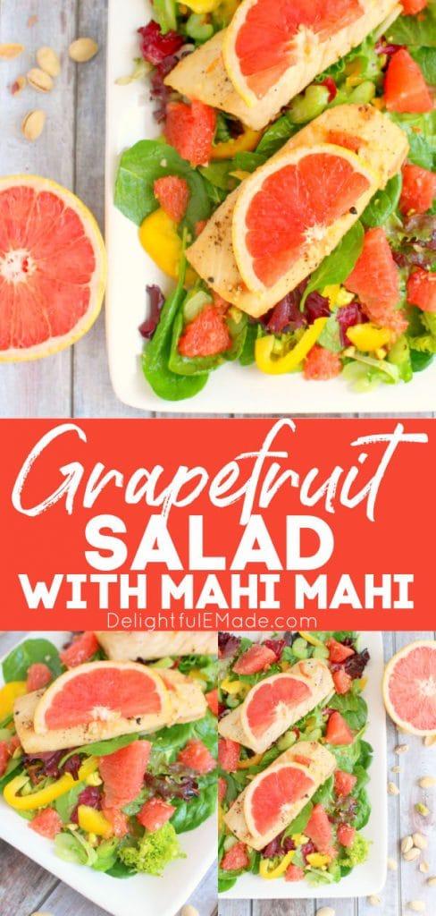 Grapefruit salad recipe, entree salad with mahi mahi topped with pink grapefruit.