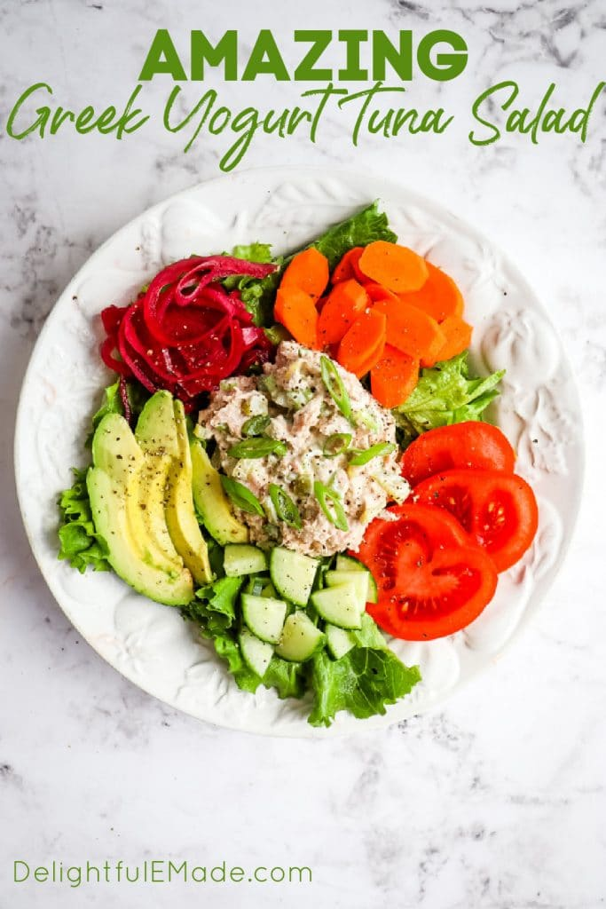 Greek yogurt tuna salad, no mayo tuna salad recipe.
