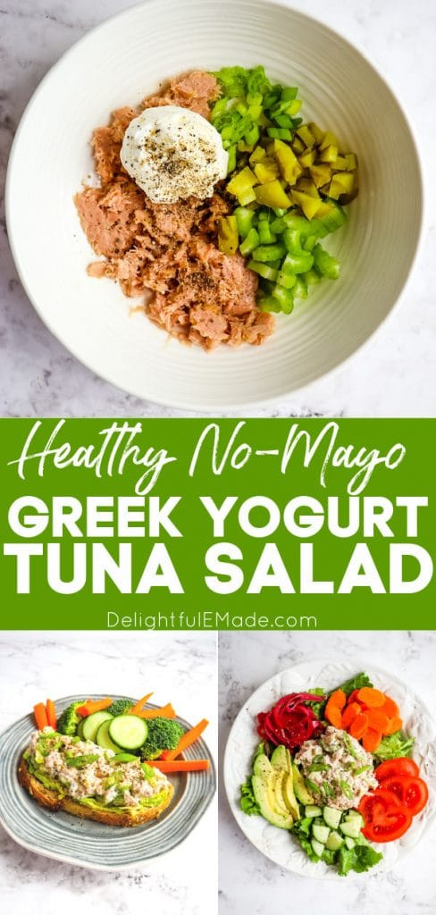 Greek yogurt tuna salad, no mayo tuna salad, on toast and in salad.