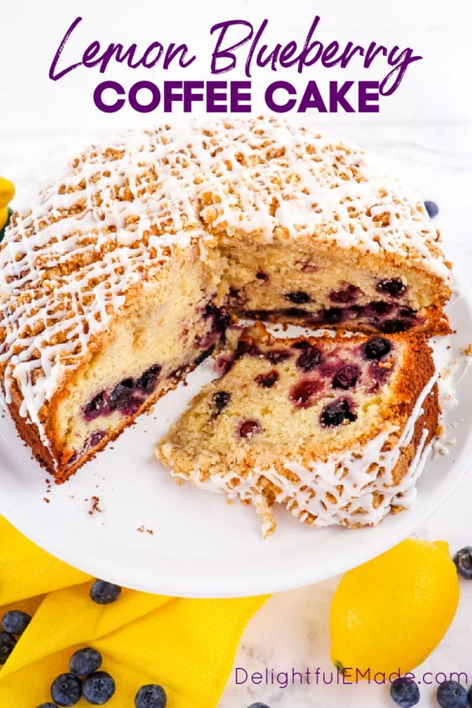Lemon blueberry coffee cake, with slice on its side and whole cake.