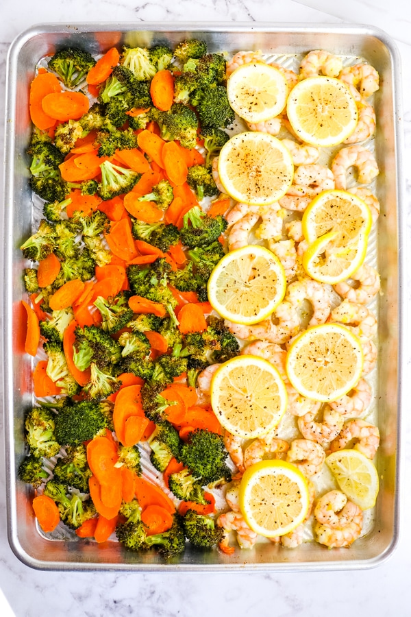 Lemon Pepper Shrimp with Vegetables on sheet pan.