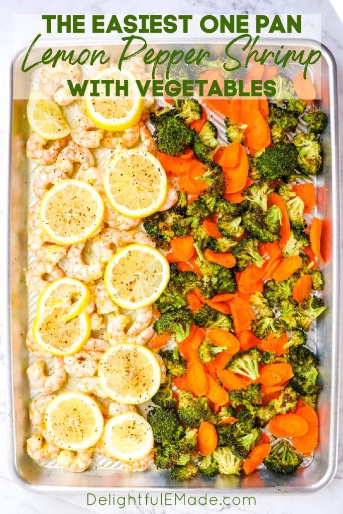 Lemon pepper shrimp with vegetables on a sheet pan.