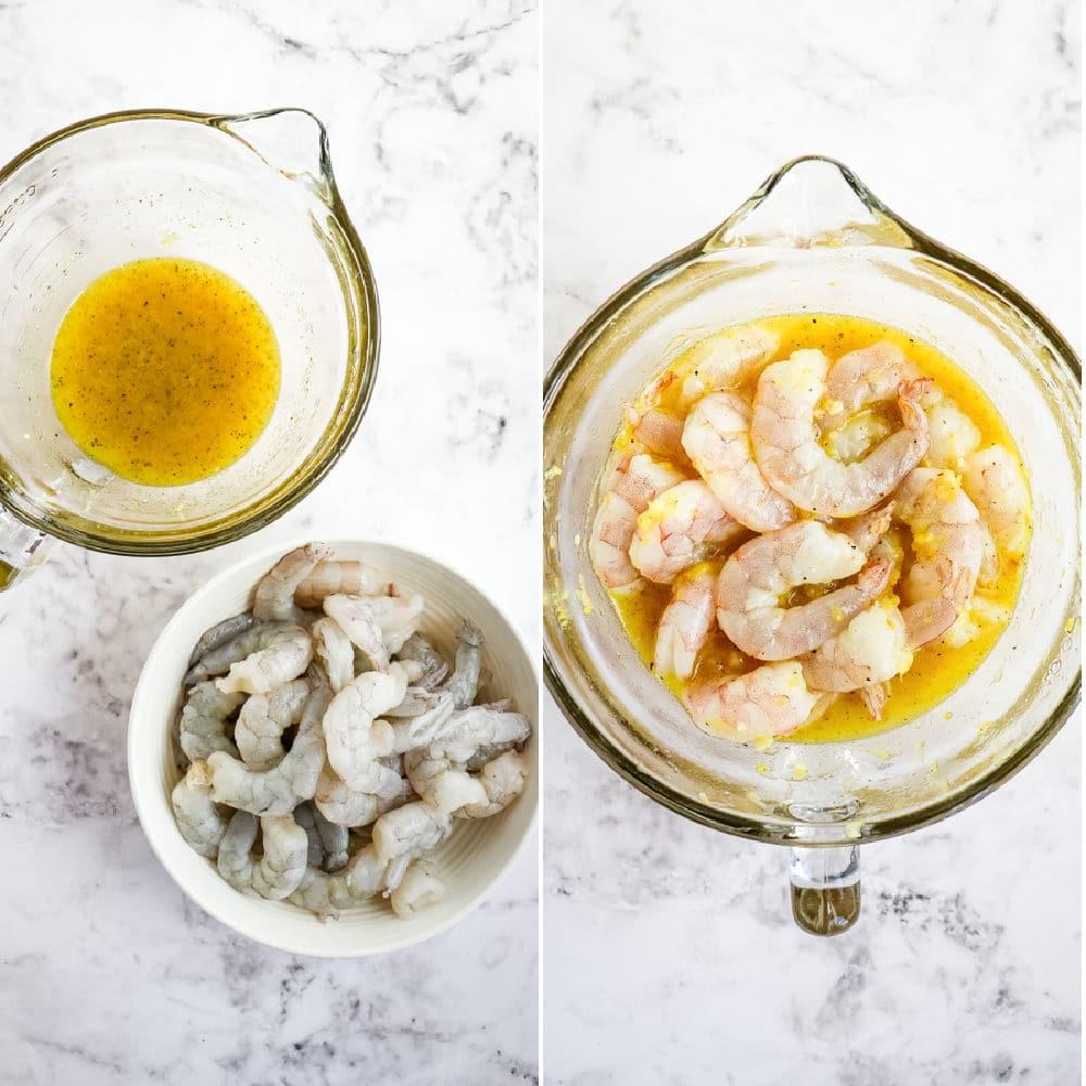 Lemon pepper shrimp marinade, raw shrimp in marinade.