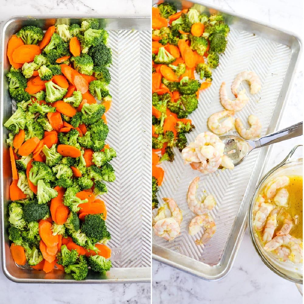 Broccoli and carrots on sheet pan, with lemon pepper shrimp