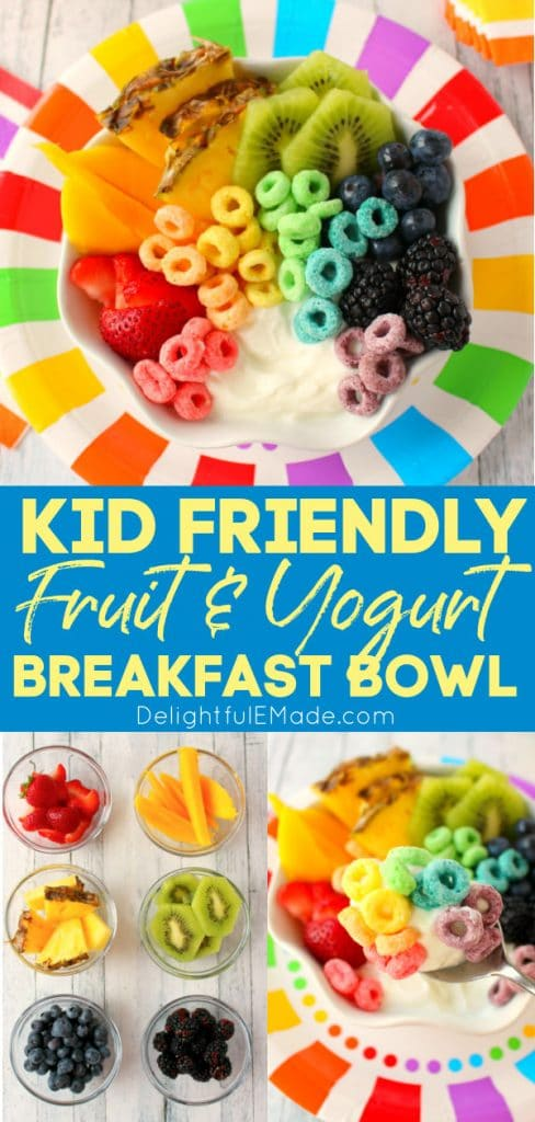 Fruit and yogurt breakfast bowl, with rainbow cereal and fruit.